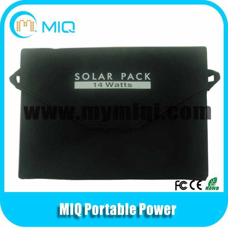 5v/14W foldable solar panel pack solar power bank charger with USB and DC output
