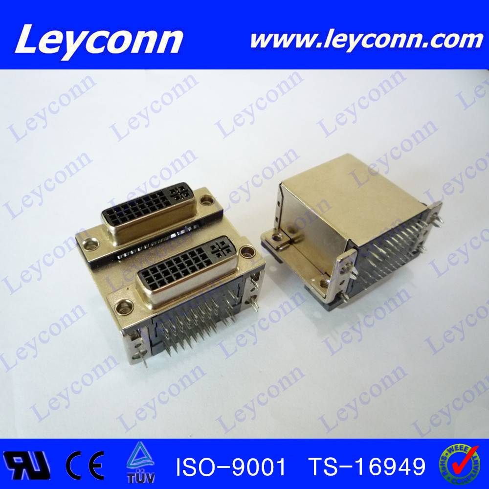 Right Angle Double Layer Type DVI Female Connector