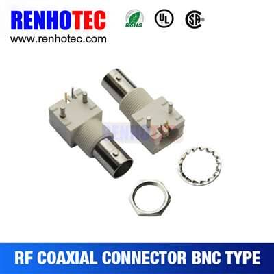 Right Angle White Plastic Jack BNC Connector For PCB Mount