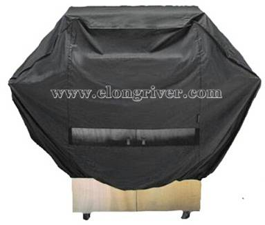 Black Polyester BBQ Grill Cover