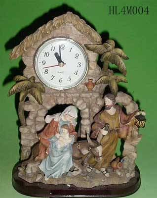 Polyresin Nativity Set with clock