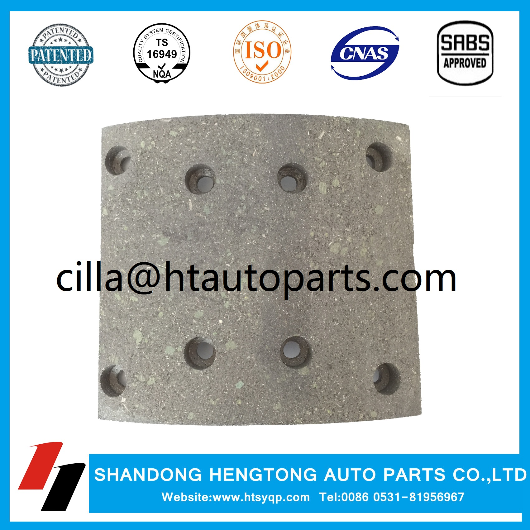 Brake lining WVA19486 with rivets for MAN/Mercedes/Renault/Steyr brake system