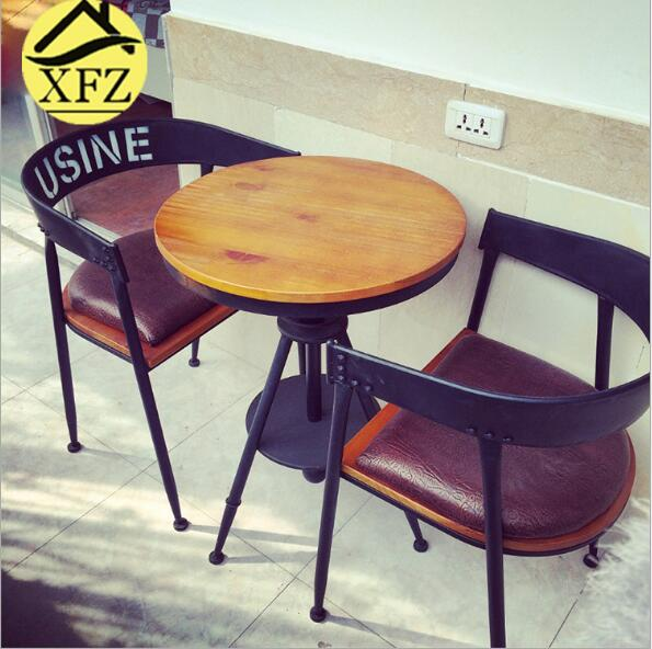 European-style dining table and chairs Solid wooden furniture Living room tables and chairs Cafe Din