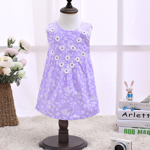 2017 Children Dress Kids Without Sleeve Fashion Kids Clothes Purple Dresses For Kids LSCG1704P