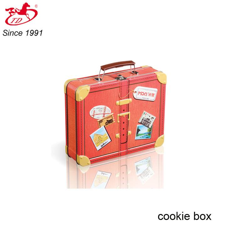 TD suitcase shape cookie/cake/candy tin box with handle