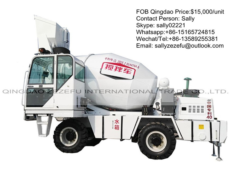mobile self-loading concrete mixer truck