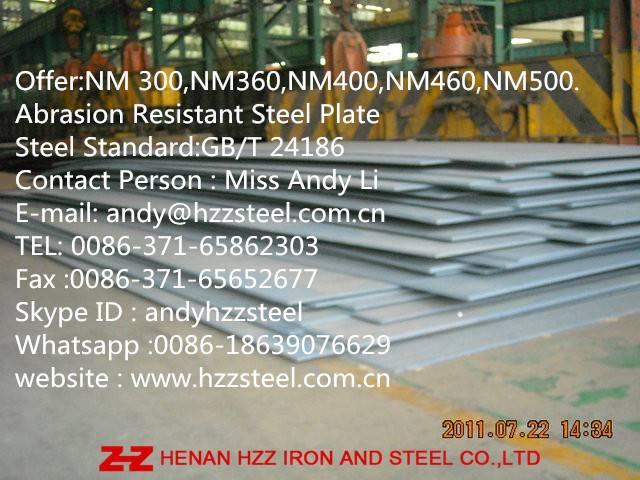 NM300,NM360,NM400,NM450,NM500,NM550,Abrasion Resistant Steel Sheet