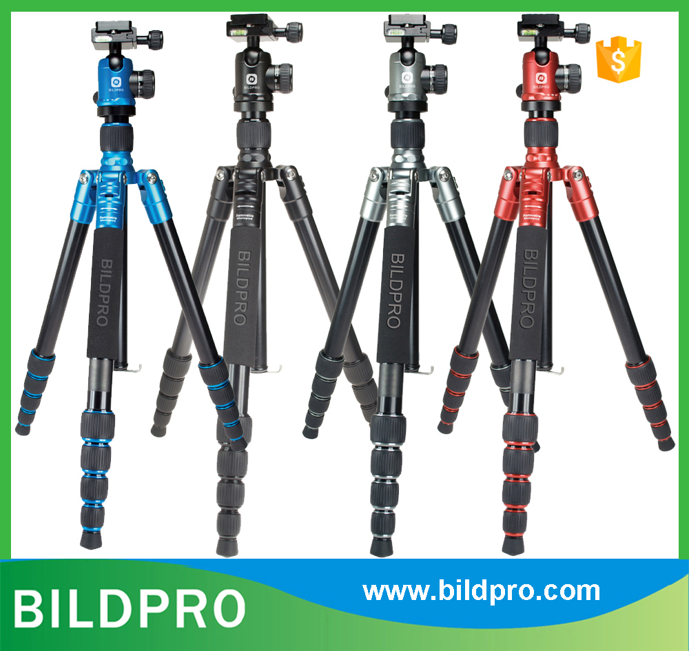 BILDPRO Aluminum Tripod with Quick Release Plate Fluid Head Foot Spikes