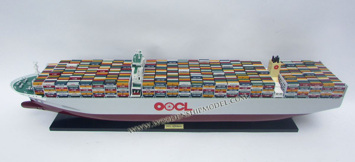 OOCL GERMANY CONTAINER SHIP - WOODEN TANKER MODEL