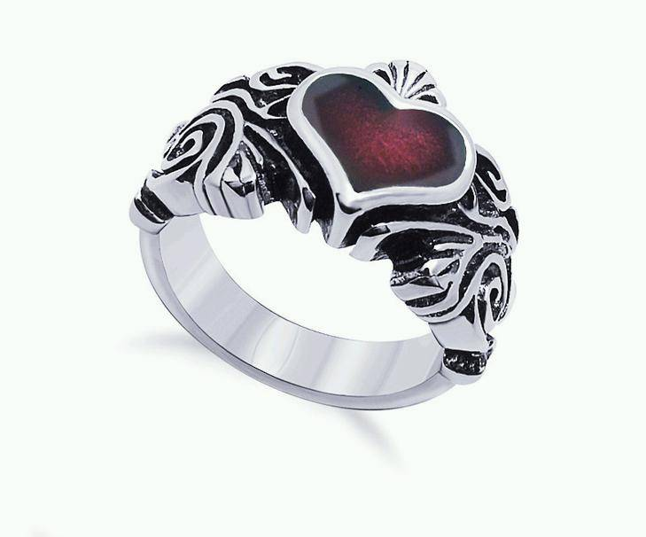 Stainless Steel Women Red Heart Claddagh Biker Jewelry Rings