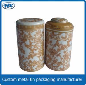 Round tea tin box in Chinese style