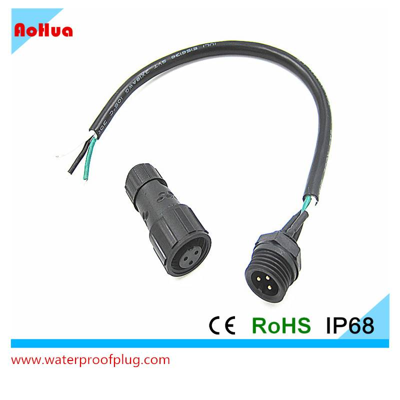 3Pin M15 Nylon panel mount soldered electrical cable IP68 waterproof connector