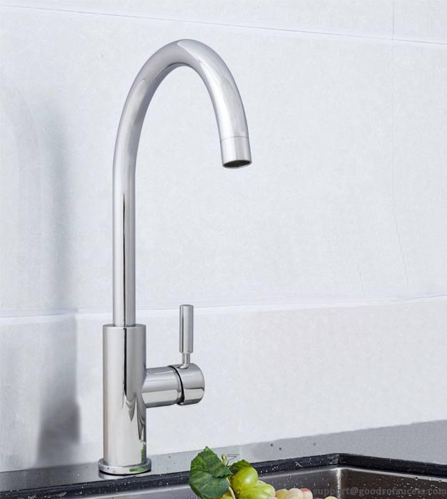 Single handle gooseneck kitchen faucet with brass spout
