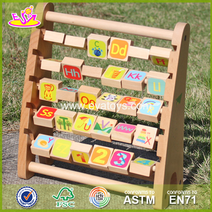 2017 New design baby wooden alphabet abacus educational kids wooden alphabet abacus toy children