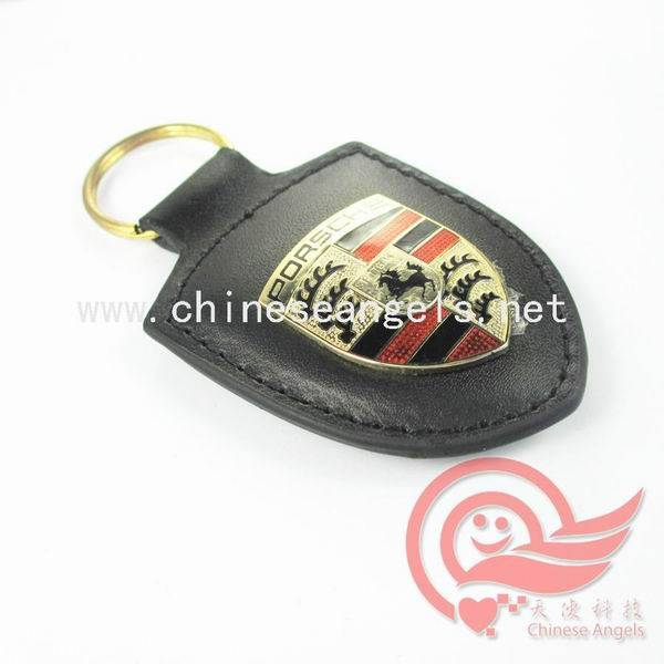 Porsche Quality leather keychain and promotional keyholder,key tag