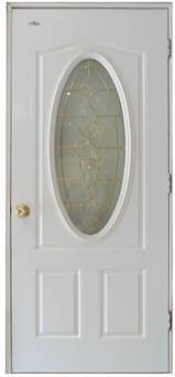 Entry Glass Door with Small Oval