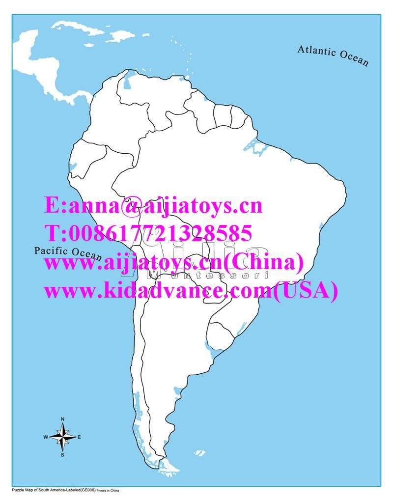 montessori Unlabeled South America Control Map,montessori materials toys