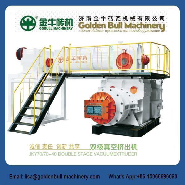 Double stage vacuum extruder -clay brick making machine