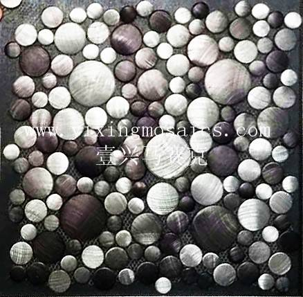 MA78 round colourful Brushed Aluminium Mosaic Wall or floor tile