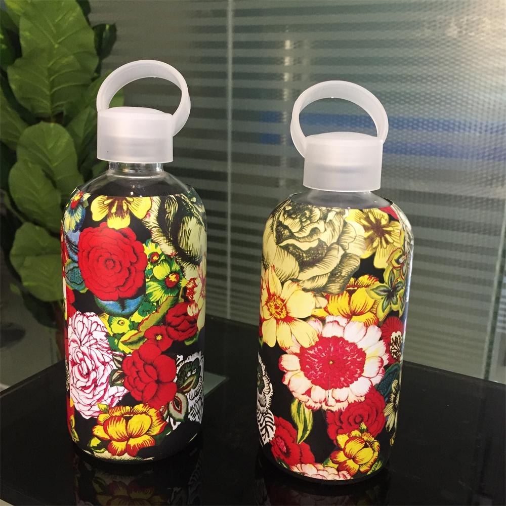 500ml classic glass drinking water bottle with printing sleeve