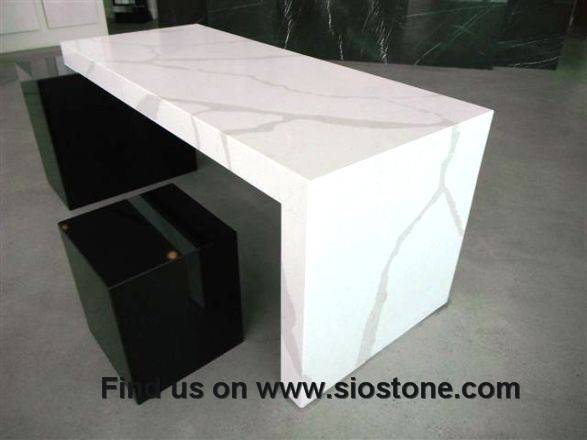 "Quartz Stone Polished Surfaces Vanity Tops Kitchen Tops with 1/4""Bevel Edges and Customized Edges Av"