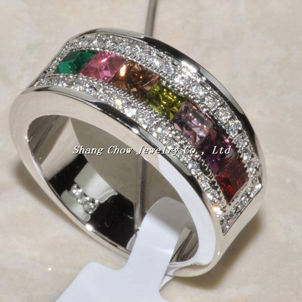 mixed color 925 Sterling silver Gemstone Ring