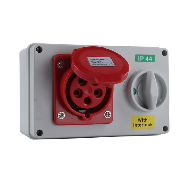 IP44 industrial 16a socket with switch box