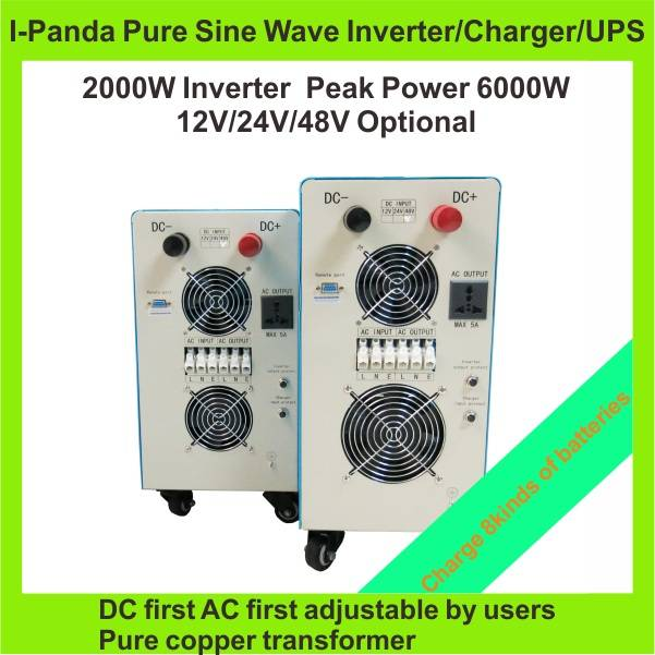 LCD & LED  pure sine wave combined inverter and charger 2000w I-P-TPI-2000W Horizontal Type wall mou