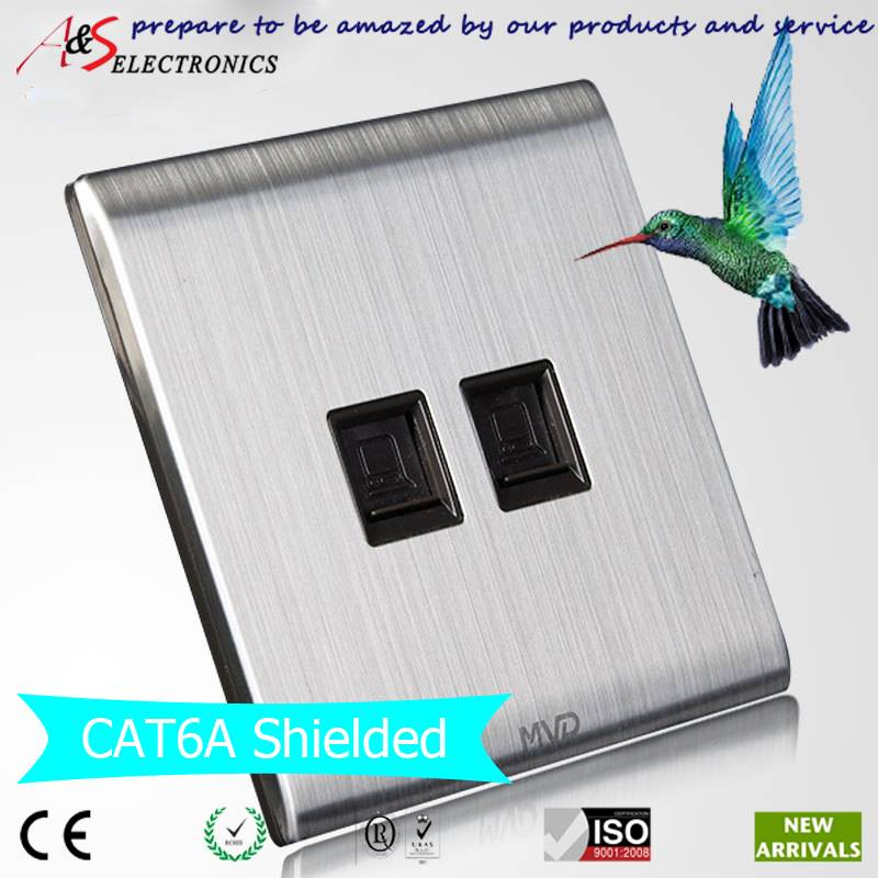 British Standard CAT5E/CAT6/CAT6A FTP/UTP Tool Free Double RJ45 Outlet Gigabit Ethernet Network Data