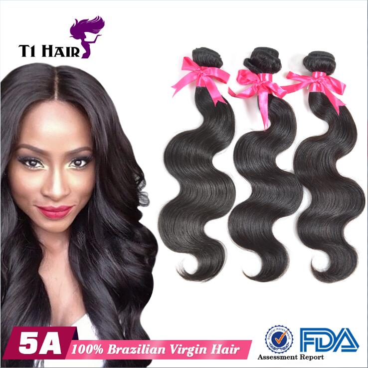 T1 Hair Natural Beauty Brazilian Body Wave Virgin Human Hair Extensions Natural Black Can be dyed