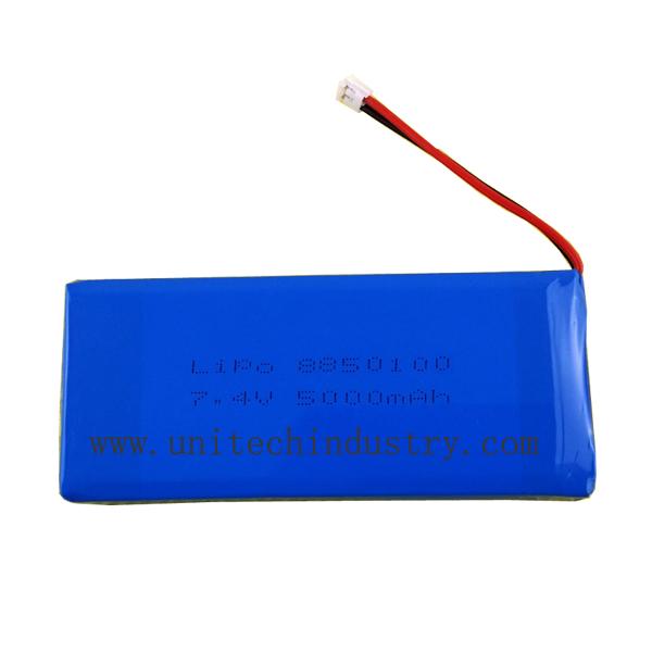customized 8850100 7.4V 5000mAh 2S1P lipo battery pack