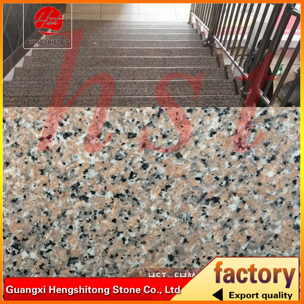 pink porrino natural granite stairs with brushed surface.