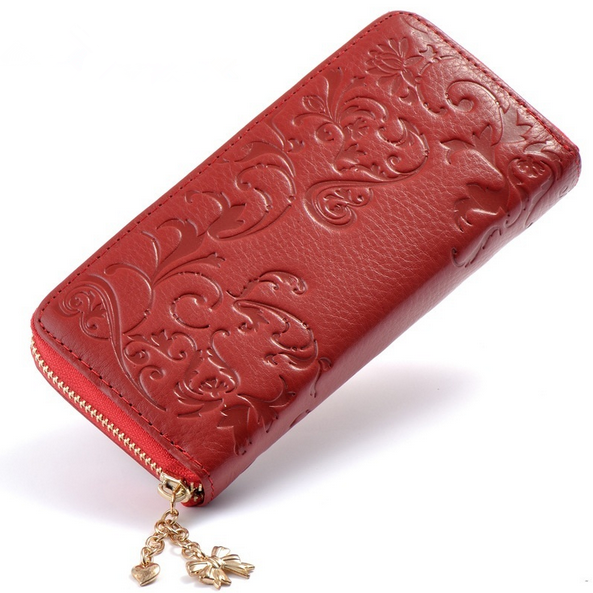 Fashion Genuine Leather Women Long Purse Flower Embossing Female Zipper Wallet