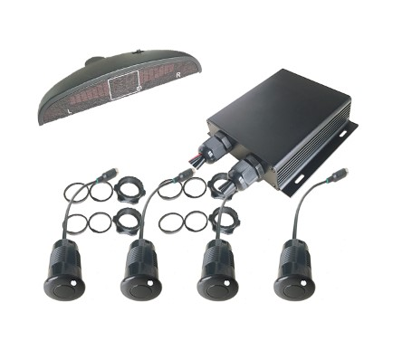 4pcs sensors detection distance 0.4m ~ 7m LED buzzer front parking sensors for mining truck/forklift