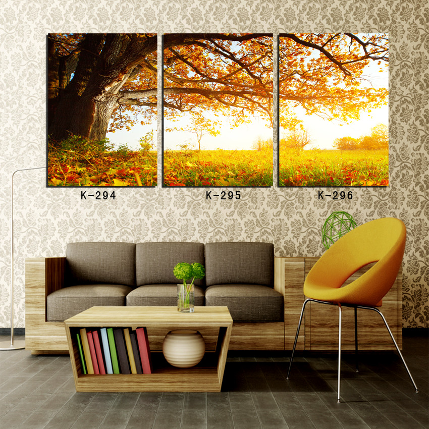 framed wall art oil painting of landscape golden autumn tree scenery paintings