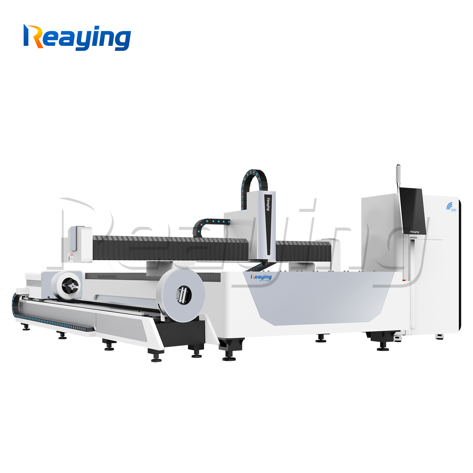 Raycus fiber laser metal cutting machine 13002500mm Cypcut control system with rotary tube cutter