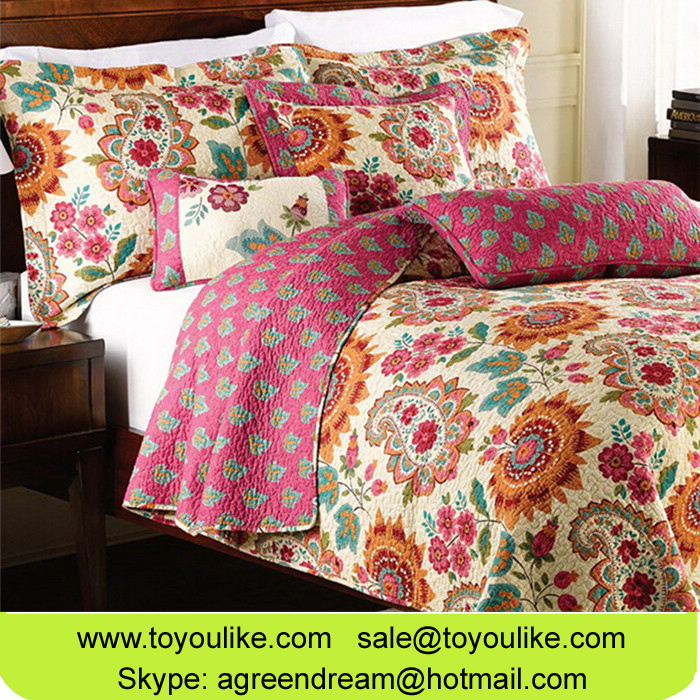 American Style Pure Cotton Quilt Set Bedspread Coverlet Quilted Queen King Comforter Bed Pillowcases