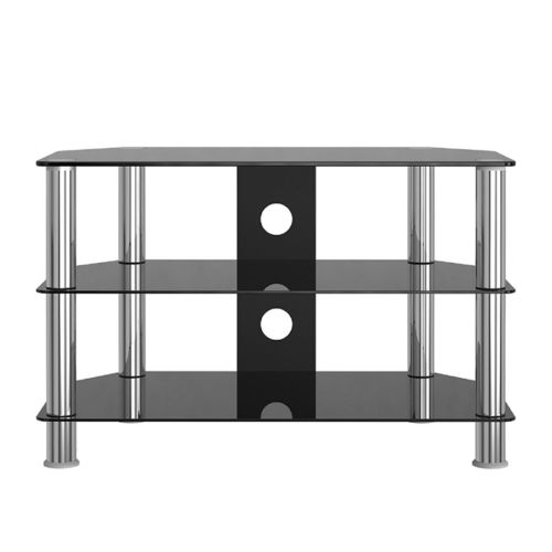 Black Glass aluminium TV Stand Table for 32''-60'' Cabinet Unit