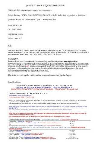 OFFER CEMENT 42.5 EUROPEAN CIF $72