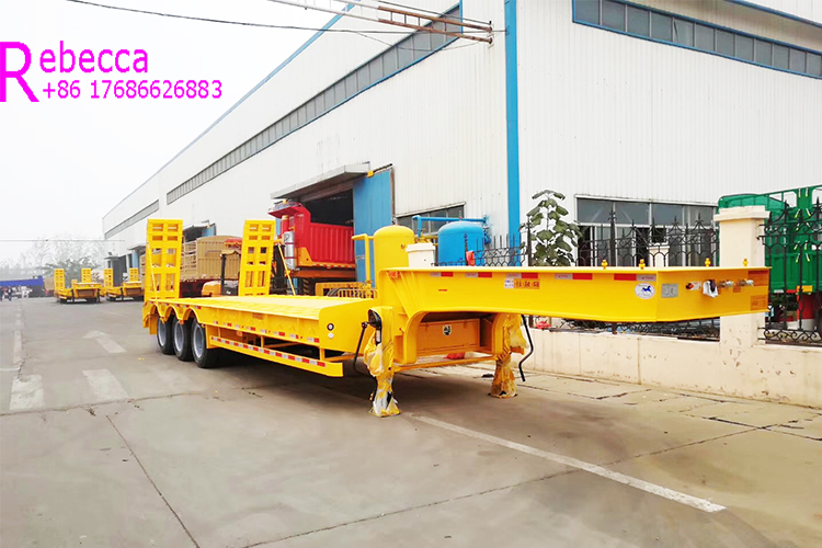 factory customized 3 axles 30 tons to 80 tons low loader trailer lowboy semi trailer