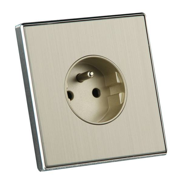 Golden Brushed Chrome 16A French Standard Wall Power Outlet