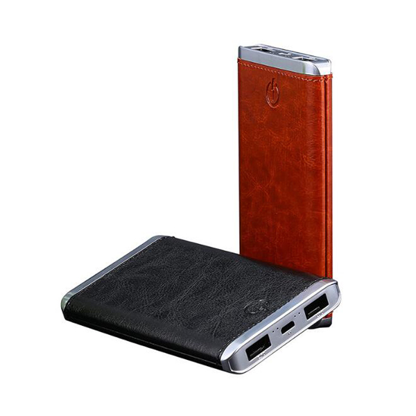 Fancy leather power bank 8000mah dual usb power bank portable battery charger