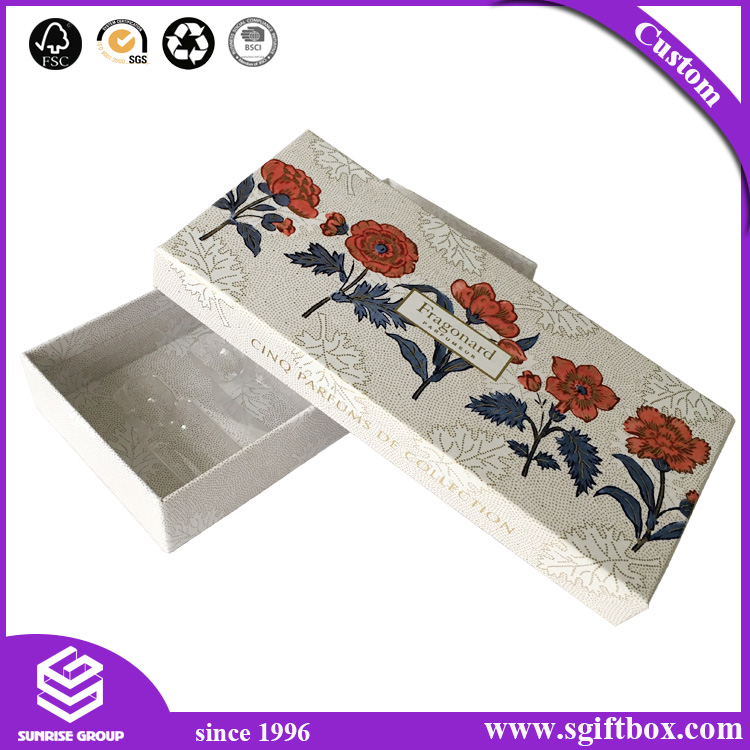 Biodegradable Lid-off Cosmetic Packaging Paper Gift Cardboad Box with Plastic Insert
