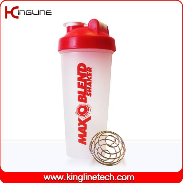 600ml plastic protein shaker bottle with blender ball inside(KL-7010)