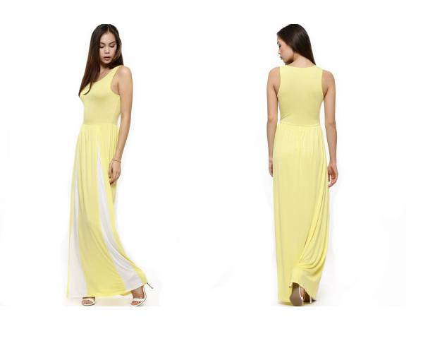 Womens knitted yellow tank dress