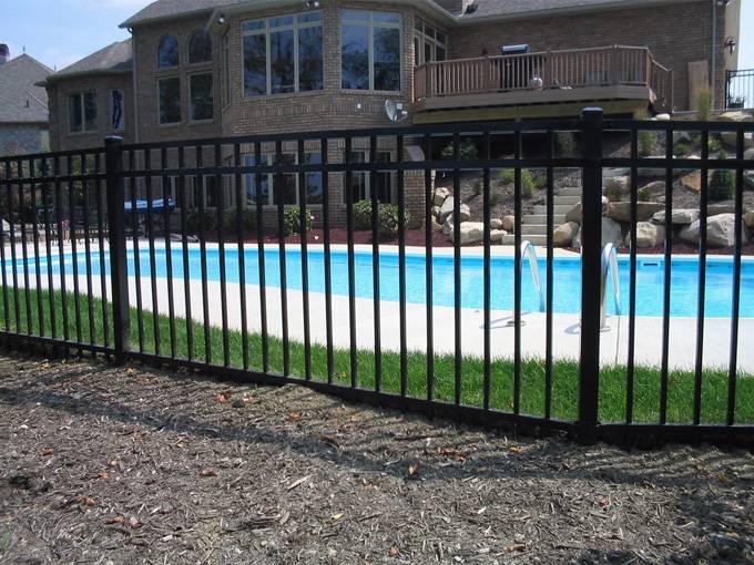 Black powder coated security backyard metal steel picket fence