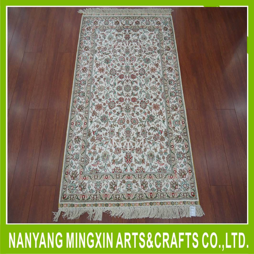 cheap price 2.5*4 spun silk wall carpet and rug Persian hand knotted artificial silk carpets