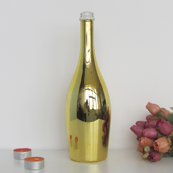 wholesale eletroplating glass bottle wine bottle 750ml glass bottle