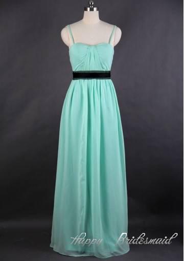 Sweetheart Spaghetti Thin Straps Mint Chiffon Bridesmaid Dress