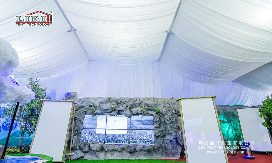 White PVC Party Tent with Luxury Roof Lining and Inside Curtains